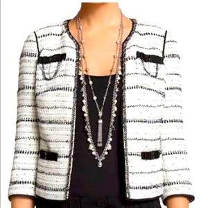 [ WHBM ] Black white tweed blazer
